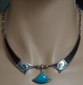 Zuni Silver & Turquoise Necklace Choker with Inlays Marked with Cat Picto Image