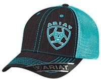 98bccd703b1fd Ariat Western Mens Hat Baseball Cap Mesh Snap Back Shield Logo Turquoise  1507701