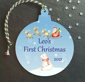 Baby boys 1st First Christmas Bauble Personalised Tree Decoration Baby Boy Gift