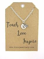 """Teacher Gift """"Teach Love Inspire"""" Silver Plated Apple Charm Necklace Message"""