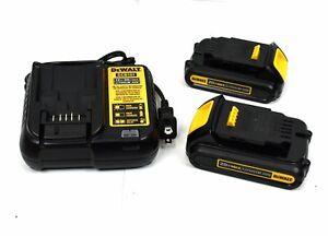 DEWALT 12V/20V MAX Charger & Lithium-Ion 2(1.5 Ah) Battery Pack DCB201 & DCB107