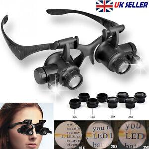 10X15X20X25X LED Double Eye Jeweler Watch Repair Magnifier Glasses Loupe Lens UK