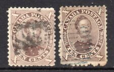Canada 1859 10c Prince Albert x2 brown shades SG 36 used
