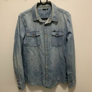 Wrangler Blue Denim Button Up Shirt