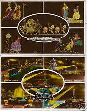 Cinderella etc on Blackpool illuminations c1932 on 2 attractive colour postcards