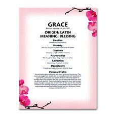 Personalised Name Meaning Print for Birthday, Christening, Mum Nanna Big Sister