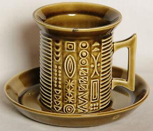 Vintage Olive Green Cypher Cup & Saucer, Serif Shape - Portmeirion - Retro 1960s
