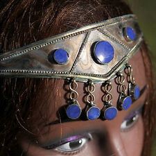 Goldplated Turkoman Tribal CROWN Handmade Headpiece Belly Dance Blue Lapis 619w1