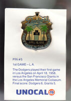 VINTAGE L.A. DODGERS UNOCAL PIN (UNUSED) - 1ST GAME IN LOS ANGELES APRIL 18 1958