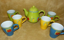 Summer Fruits Bright Teapot & 6 Mugs Apple Orange & Pear ( Lime Yellow & Blue)