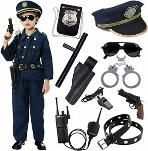Kids Police Officer Costume Halloween Cosplay Boys Outfit Realistic Set Uniform