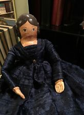 New HandMade Pioneer Doll Painted Face & Hands Stitched Blue Dress Petticoats