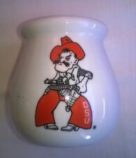 Oklahoma State University Osu Pistol Pete Cowboy Candle Jar Vintage Collectible