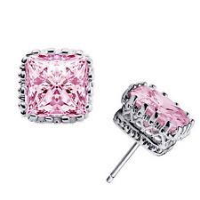 925 Sterling Silver Elegant Women Rhinestone Crystal Square Ear Stud Earring