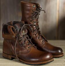 motard armée mi mollet bottes chaussures rétro Mens cuir Combat Lace militaire