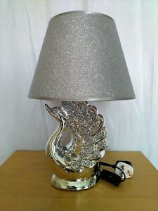 Table Lamp With Shade Crushed Diamond Ceramic Base Silver Sparkling Bedside LED