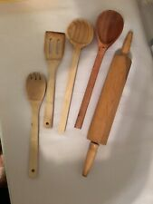5 Piece Set Utensil Kitchen Wooden Cooking Tools Spoon Spatula Mixing