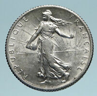 1916 FRANCE Antique Silver 1 Franc French Coin w La Semeuse Sower Woman i83361