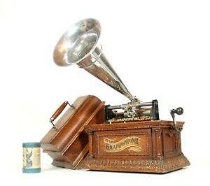 """1906 Columbia """"Fancy Case"""" AO Cylinder Phonograph w/Original Horn * Excellent"""