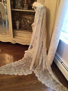 OMG vtg antique neiman marcus tambour lace wedding veil vtg incredible