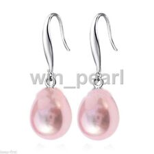 12x16MM pink South Sea Shell Pearl Silver Plated Drop Dangle Fashion Earrings