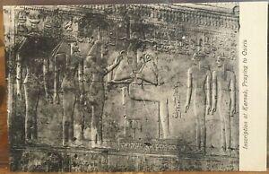 Egypt Postcard KARNAK Tomb Bas Relief PRAYING TO OSIRIS Inscription Egyptian udb