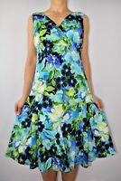 East Floral Aline Green Blue Cotton Dress Wedding Holiday Summer Size 12 AR