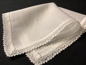 #6853🌟Antique TINY Linen & Teensy Needlelace Wedding Handkerchief Heirloom