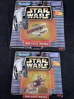 1997 Star Wars Micro Machines Die cast Landspeeder & A-Wing Starfighter R28