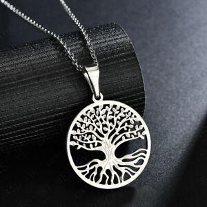 Damen Halskette Lebensbaum Anhänger EDELSTAHL Collier Kette Silber Gold Geschenk