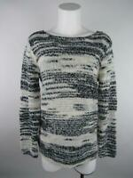 Divided H&M Women's sz S Black White Acrylic Striped Boat Neck Pullover Sweater