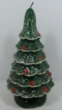 Snow Covered Christmas Tree Decorative Candle Leadless Wick Made In Italy - Vtg