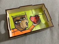 "Hand Painted Wooden Serving Tray with Handles 6X9"" Cuban Art By LISA"