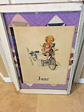 """1960'S SALLY, DICK & JANE POSTER SIZE """"JANE RIDING BIKE,"""" QUILT IN WINDOW FRAME"""