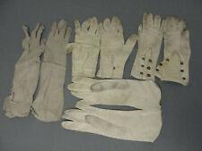 """Womans Ladies Antique White Kid Leather Glove Lot Ba & Co 9 -14"""" Vintage 1930s"""