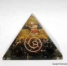 Reiki Energy Charged Large Black Tourmaline Crystal Orgone Pyramid 7.5cm UK