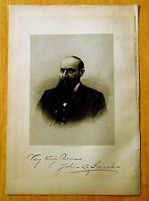 Antique Print 1885 JOHN C.FRENCH Manchester, NH STEEL ENGRAVING Portrait