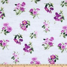 Symphony Purple Floral & Words Cotton Fabric Andover By the Yard Bfab