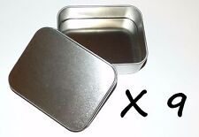 9 X 4-oz Rectangular Slip Lid Survival Metal Tin Can Container Box Kit Craft Use