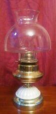 Vtg Eagle Brass P&A Risdon Mfg Co Danbury, Ct Oil Lamp w/Milk Glass Dome Accent
