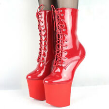 Womens Patent Leather Heelless Stage Ankle Boots Lace Up Nightclub Dance Shoes