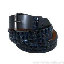 3-Row Metal Pyramid Studded Paint Splatter Leather Belt Punk Rock Goth Emo Biker