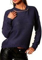 SEXY Miss Damen Pullover Pulli Ketten Look Strick 34/36/38 Lurex d. blau gold