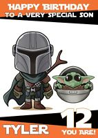 personalised Birthday card Mandalorian Inspired Any/age name/relation