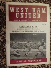 1966/67 Football Programme - West Ham v Leicester City - 31st December