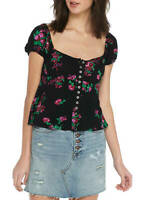 Free People Close To You Blouse Black Floral Size Medium & Large  NWT