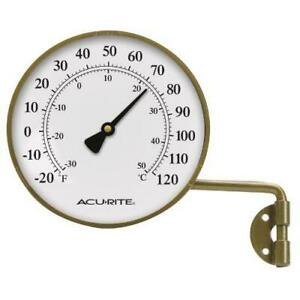 AcuRite 00334 4-Inch Swivel Thermometer,brass