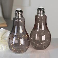 Dekoleuchte 'Glühbirne' Glas rauchgrau Lichterkette 19 LED Höhe 22cm NEU