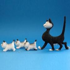 """The Walk"" Mom Walking Three Kittens CAT STATUE SCULPTURE ARTIST DUBOUT FRANCE"