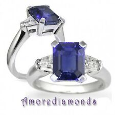 2.5 EMERALD CUT SAPPHIRE & BULLET CUT DIAMOND 3 STONE ENGAGEMENT RING PLATINUM